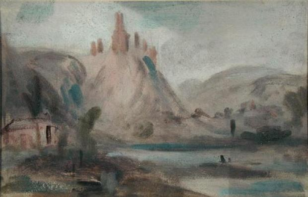 Landscape with a Castle on a Hill, previously attributed to J.M.W. Turner