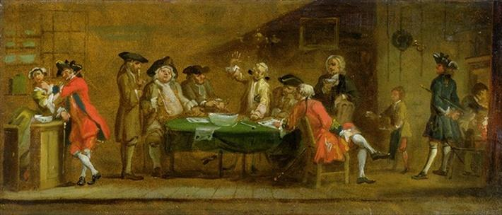 Figures in a Tavern or Coffee House, 1720s