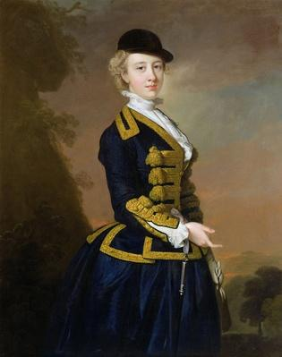 Portrait of Nancy Fortesque wearing a dark blue riding habit