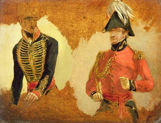 Studies of Royal Horse Artillery Uniform, and of an A.D.C. to the Commander in Chief: a study for 'The Battle of Waterloo'