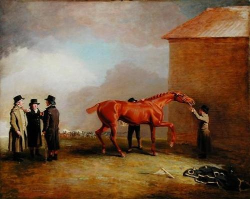Muly Moloch, a chestnut colt being rubbed down on Newmarket Heath, with portraits of Trotter, Hardy and Thompson on the left