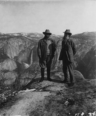 Theodore Roosevelt and John Muir at Glacier Point, Yosemite National Park, 1903 | Ken Burns: The National Parks