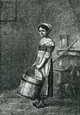 Cosette Carrying a Bucket, illustration from 'Les Miserables' by Victor Hugo