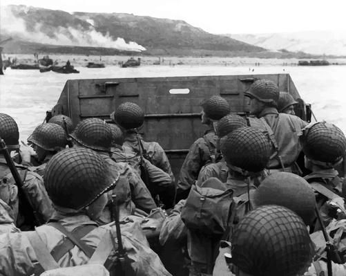 Digitally restored photo of American troops in a landing craft | World War II