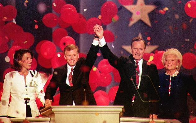 President George H.W. Bush, Vice President Dan Quayle, and Their Wives at the RNC | U.S. Presidential Elections: 1992