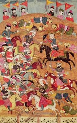 Battle between the Persians and the Turanians, illustration from the 'Shahnama'