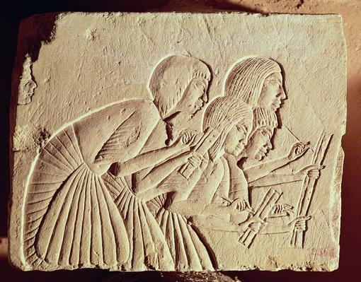 Tablet depicting four scribes at work, New Kingdom, c.1400 BC