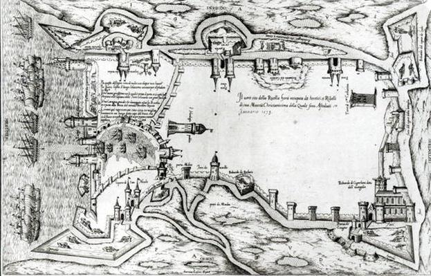 Map illustrating La Rochelle occupied by the Huguenots