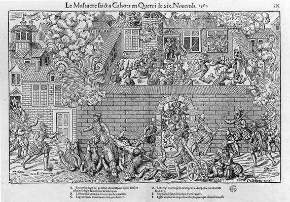 The Massacre of Cahors, 19th November 1561, engraved by Jacques Tortorel