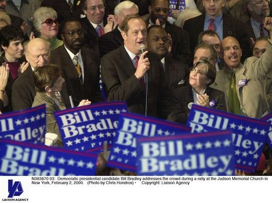 Democratic Presidential Candidate Bill Bradley Speaks at New York Rally | U.S. Presidential Elections: 2000