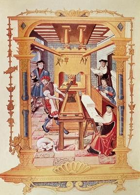 Interior of a 16th century printing works, copy of a miniature from 'Chants royaux sur la Conception couronnee du Puy de Rouen'