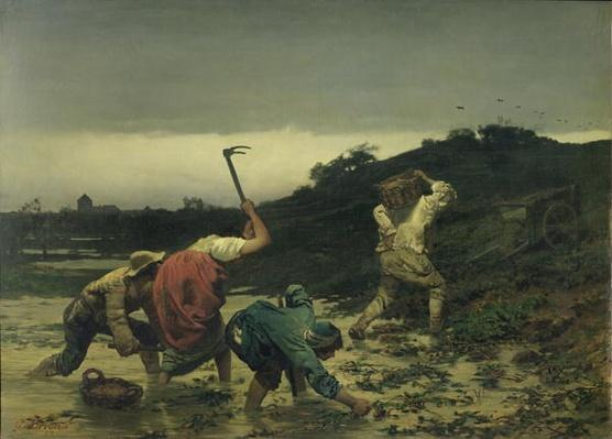 Peasants Harvesting Potatoes During the Flood of the Rhine in 1852