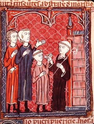 Ms 372 f.53r A Child Brought to a Monastery by his Parents, from 'Decrets de Gratien'