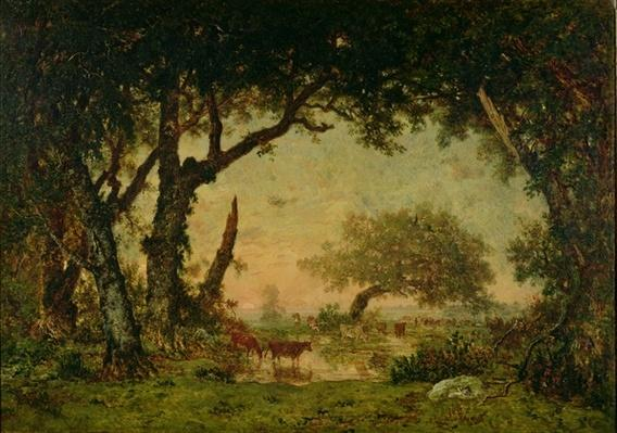 The Edge of the Forest at Fontainebleau, Setting Sun, 1850-51