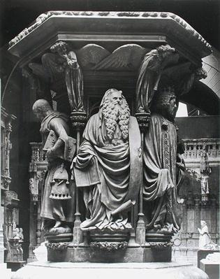 Moses, detail from the hexagonal pedestal of the Well of Moses, copy of the original from Chartreuse de Champmol, Dijon