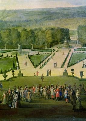 Promenade of Louis XIV by the Parterre du Nord, detail of Louis and his entourage, c.1688
