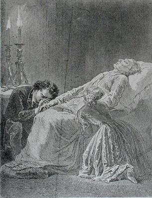 The Death of Jean Valjean, illustration from 'Les Miserables' by Victor Hugo