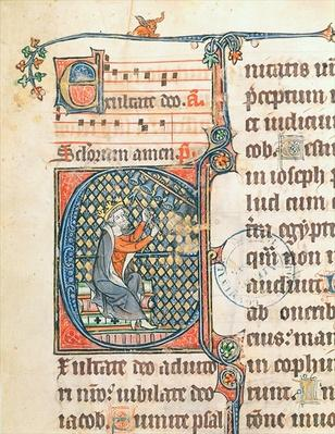 Ms 124 f. 83 Historiated initial depicting King David playing a carillon, illustration from a psalter