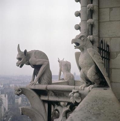 Gargoyles on the balustrade of the Grande Galerie, replica of a 12th century original