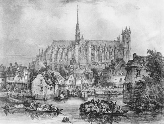 View of the Cathedral of Notre Dame, Amiens, from Pont Dudon