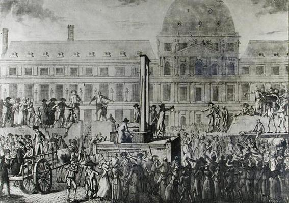 The First Execution by Guillotine, Place du Carrousel, 13th August 1792