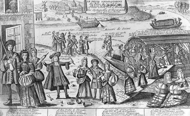 The Sad Embarkation of the Prostitutes of Paris to the French Colonies of New Orleans and their Farewells to their Doctors, Apothecaries and Lovers