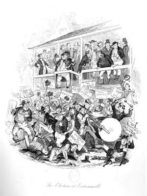 Mr Pickwick on Election Day at Eatenswill, illustration from 'Pickwick Papers' by Charles Dickens