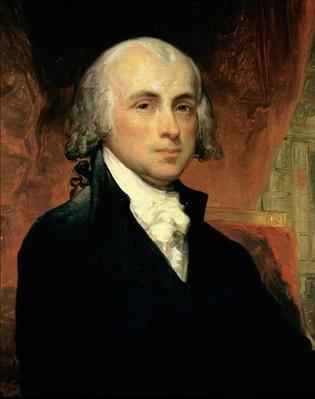 James Madison (oil on canvas) by American School, (19th century)
