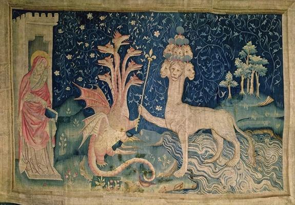 The Beast of the Sea with Seven Heads and Ten Crowns, no.40 from 'The Apocalypse of Angers', 1373-87