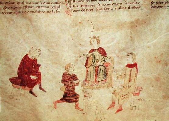King Arthur on his Throne Surrounded by his Advisors, from the Roman de Meliadus
