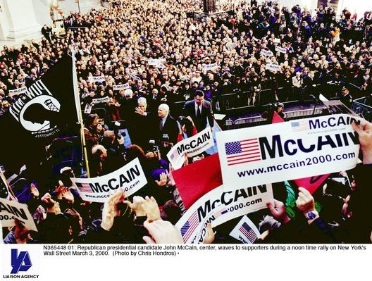 Republican Presidential Candidate John McCain at Wall Street Rally | U.S. Presidential Elections: 2000