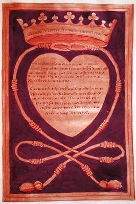 Fol. 61r The Crowned Heart of Courage, from the Account of the Funeral of Anne of Brittany