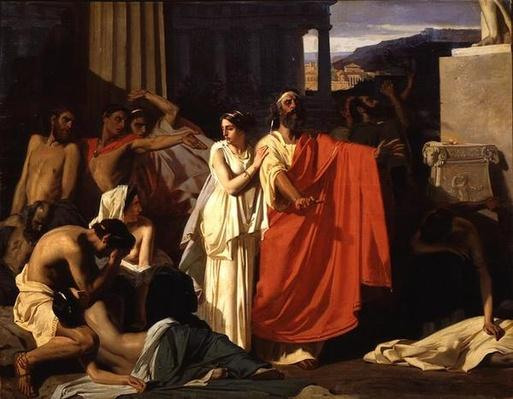 Oedipus and Antigone being exiled to Thebes, 1843