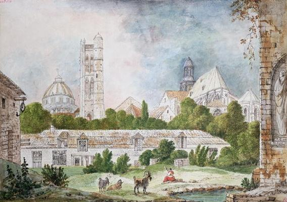 The New Church of Sainte-Genevieve and Saint-Etienne-du-Mont Seen from the Ruins of the Abbey of Sainte-Genevieve in Paris, 1807