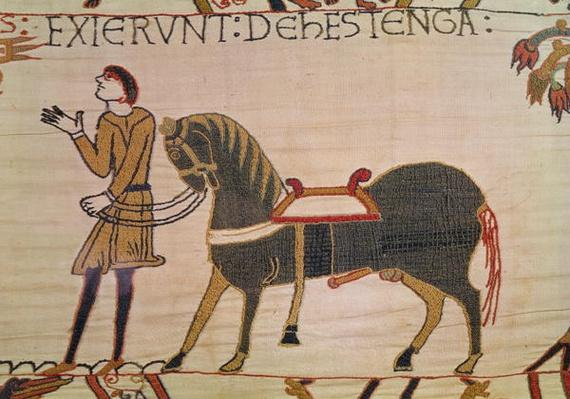 A Messenger Brings News of Harold to William, detail from the Bayeux Tapestry, before 1082