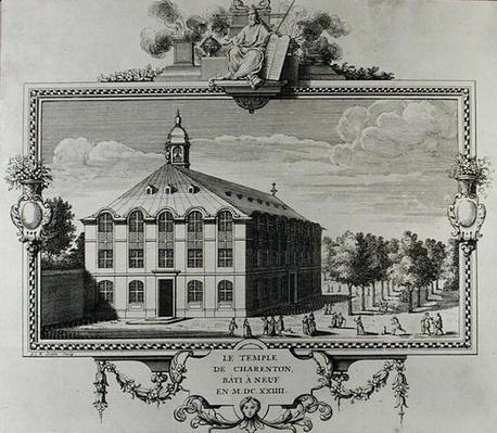 The Temple of Charenton, rebuilt in 1624, engraved by Gerard Jean Baptiste Scotin