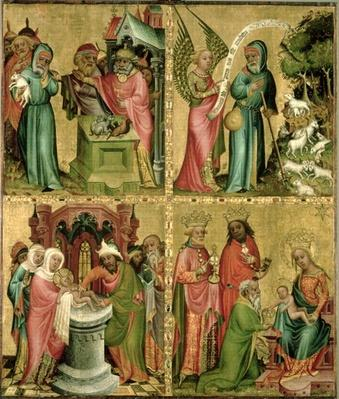 Joachim's Sacrifice, the Circumcision of Christ, the Annunciation to St. Joachim and the Adoration of the Magi from the left wing of the Buxtehude Altar, 1400-10