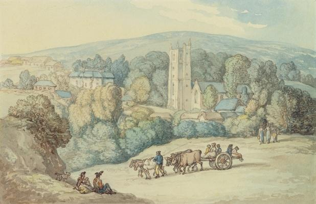 The Church and Village of St. Cue, Cornwall, c.1812