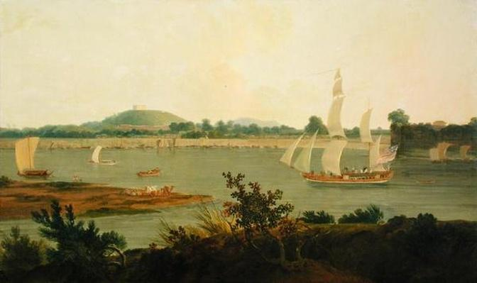 Pinnace Sailing Down the Ganges past Monghyr Fort, c.1791