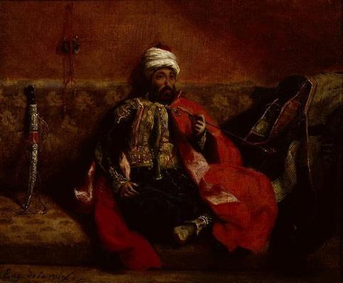 A Turk smoking sitting on a sofa, c.1825