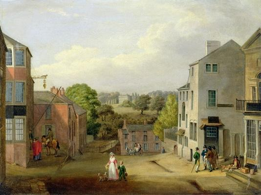 Street Scene in Chorley, Lancashire, with a View of Chorley Hall, c.1790-1817