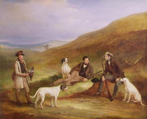 Edward Horner Reynard and his Brother, George, Grouse Shooting with the Keeper, Tully Lamb, at Middlesmoor, Yorkshire, 1836