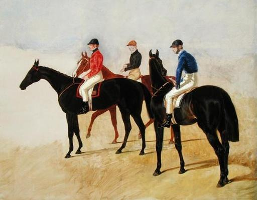 Study of Three Steeplechase Cracks: Allen McDonough on Brunette, Tom Oliver on Discount and Jem Mason on Lottery, or Three Racehorses with Jockeys Up
