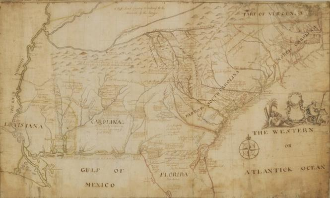 Map of the Southeastern part of North America, 1721