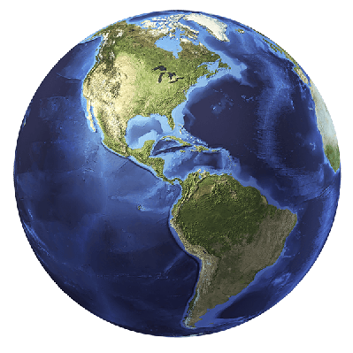 3D Rendering of Planet Earth, Centered on North America and South America | Clipart