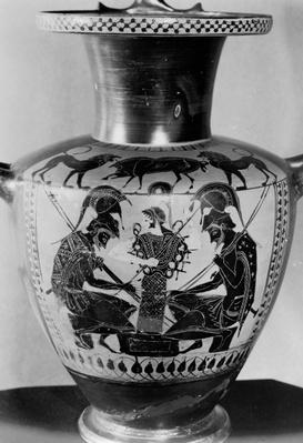 Attic black figure hydra depicting Achilles and Ajax playing dice