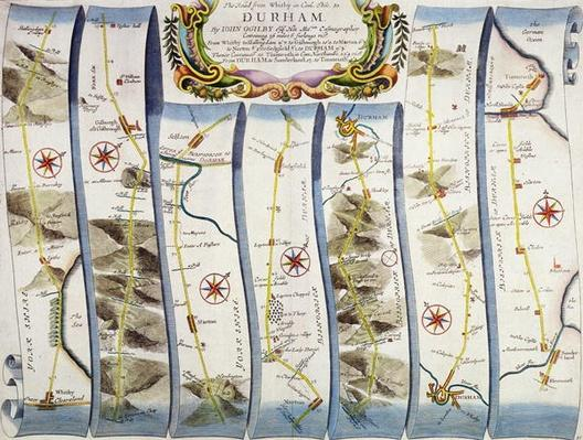 Road from Whitby to Durham, from John Ogilby's 'Britannia', published London, 1675
