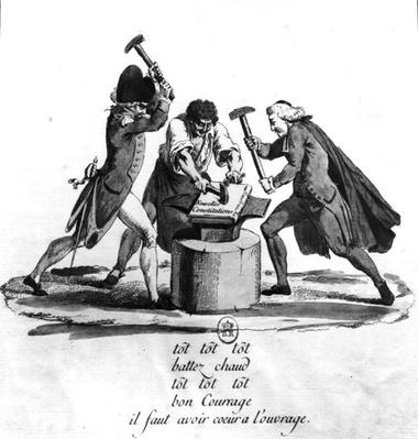 The Three Orders, forging the New Constitution on an Anvil, 1789