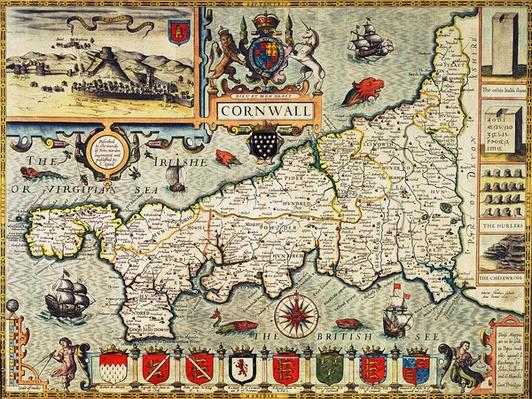 Map of Cornwall from the 'Theatre of the Empire of Great Britain', pub. in London by George Humble, 1627 edition