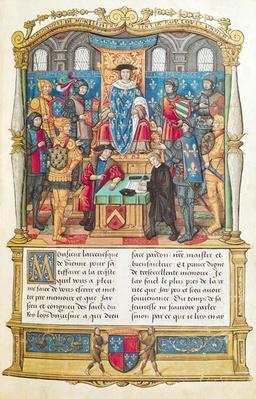 Ms 18 fol 1r Presentation of the Memoirs to Louis XI, from the Memoirs of Philippe of Commines